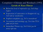complaint olshtain and weinbach 1993 levels of face threat