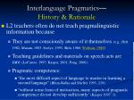 interlanguage pragmatics history rationale8