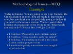 methodological issues mcq example