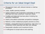 criteria for an ideal angel deal