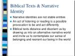 biblical texts narrative identity