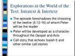 explorations in the world of the text intratext intertext
