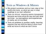 texts as windows mirrors