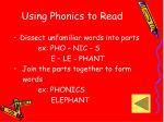 using phonics to read