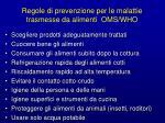 regole di prevenzione per le malattie trasmesse da alimenti oms who