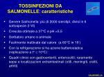 tossinfezioni da salmonelle caratteristiche