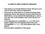 a game of simultaneous demands