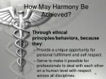 how may harmony be achieved