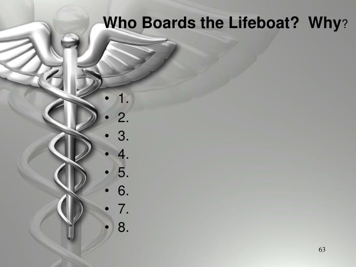 Who Boards the Lifeboat?  Why