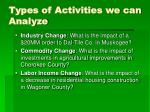 types of activities we can analyze