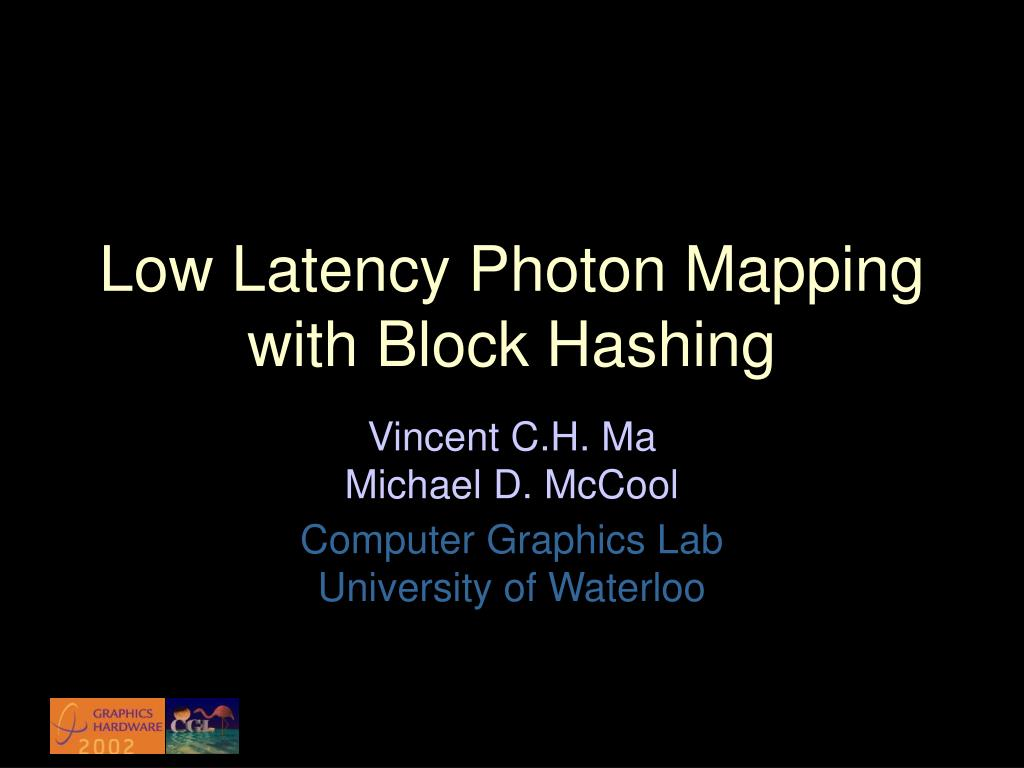 low latency photon mapping with block hashing l.