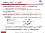 thinking about clusters