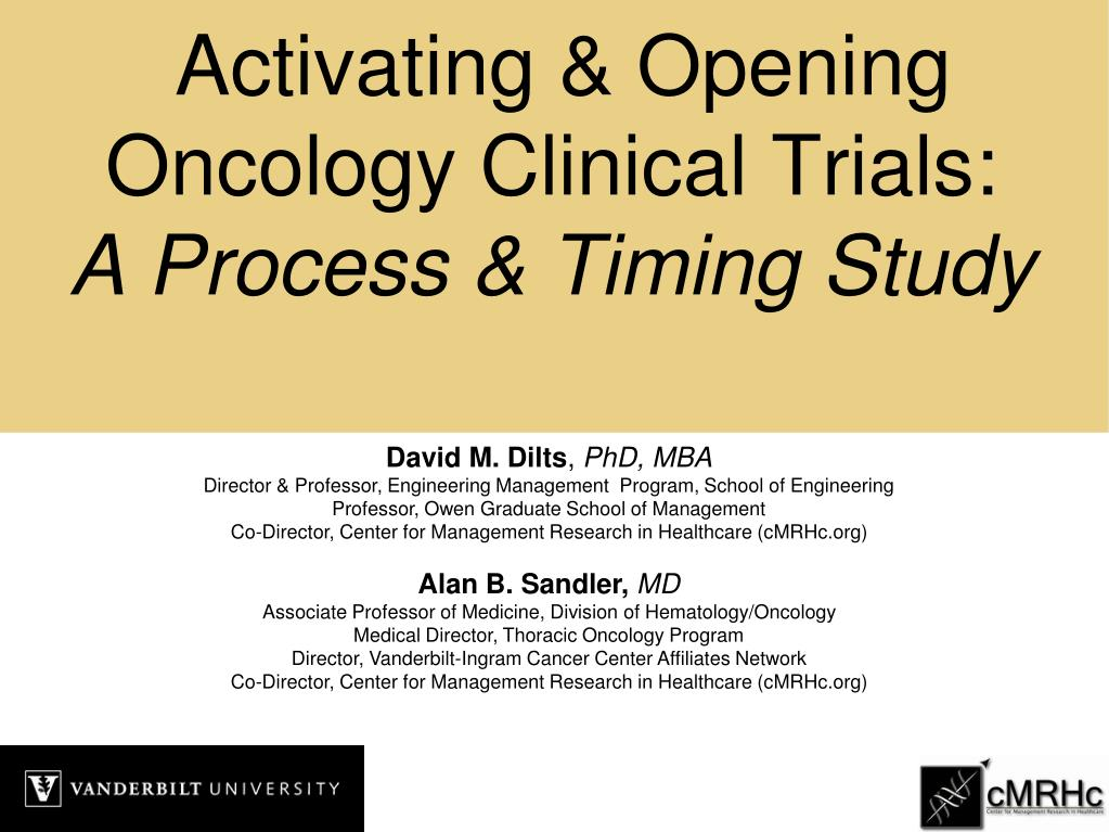 activating opening oncology clinical trials a process timing study l.