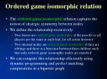 ordered game isomorphic relation