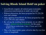 solving rhode island hold em poker