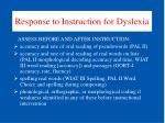 response to instruction for dyslexia