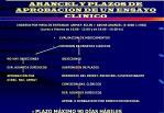 presentacion de protocolo arancel y plazos de aprobacion de un ensayo clinico