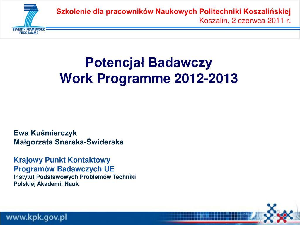 potencja badawczy work programme 2012 2013 l.