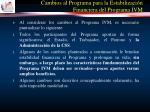 cambios al programa para la estabilizaci n financiera del programa ivm