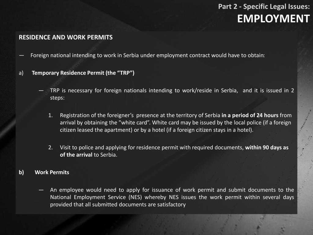 Part 2 - Specific Legal Issues: