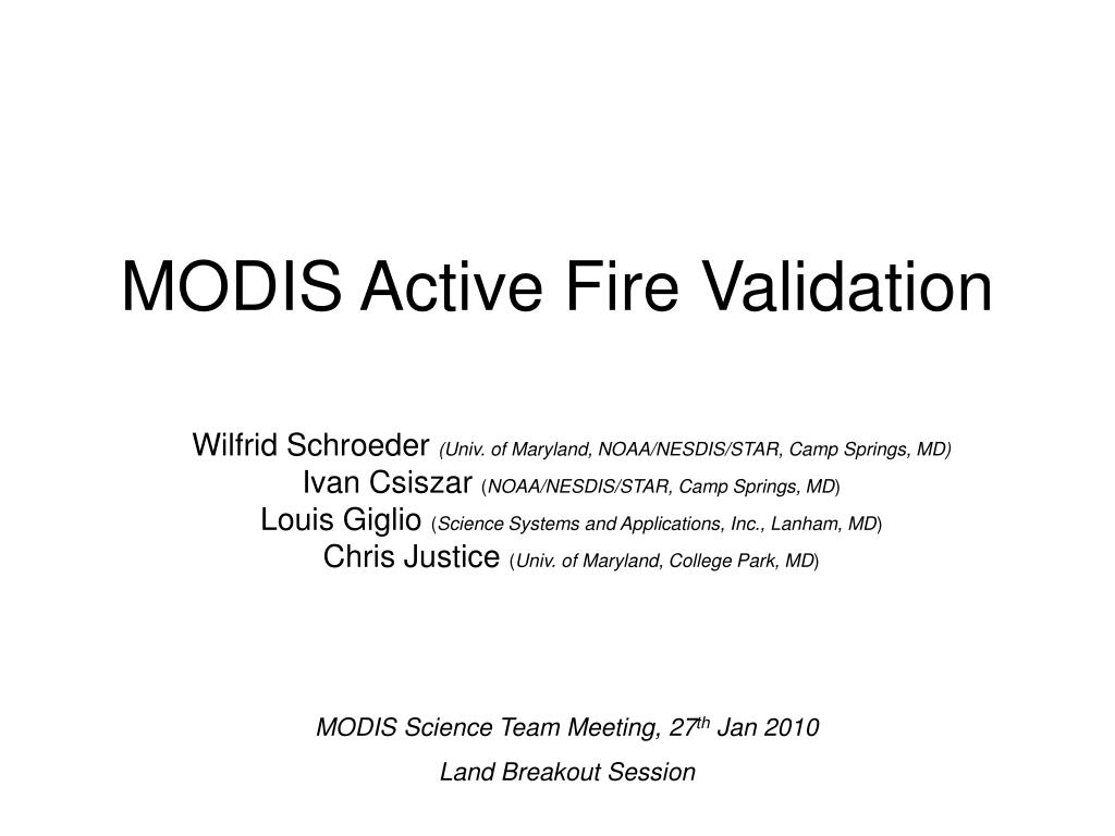 modis active fire validation l.