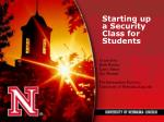 starting up a security class for students