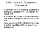 caf common assessment framework