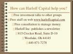 how can harloff capital help you