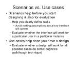 scenarios vs use cases