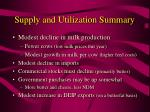 supply and utilization summary