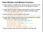 static members and member functions