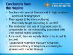 conclusions from the helpline