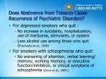 does abstinence from tobacco cause recurrence of psychiatric disorders