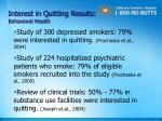 interest in quitting results behavioral health