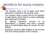 benefits to the issuing company