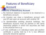 features of beneficiary account