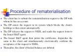 procedure of rematerialisation