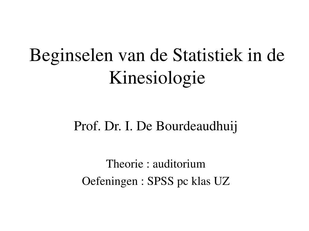 beginselen van de statistiek in de kinesiologie l.