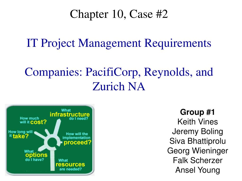 chapter 10 case 2 it project management requirements companies pacificorp reynolds and zurich na l.