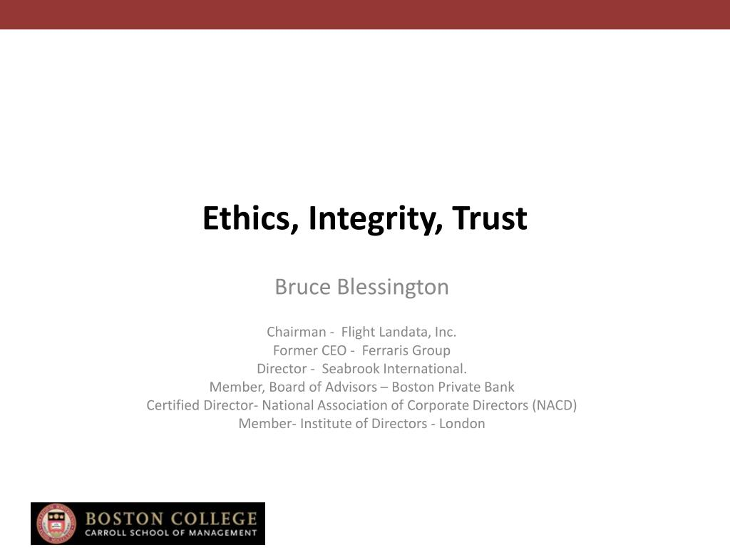 ethics integrity trust l.