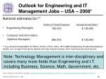 outlook for engineering and it management jobs usa 2008