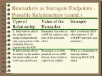 biomarkers as surrogate endpoints possible relationships contd
