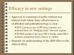 efficacy in new settings