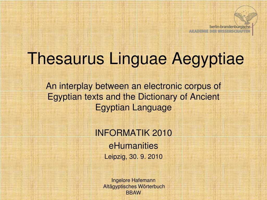 thesaurus linguae aegyptiae l.