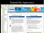 expand site appearance