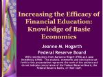 increasing the efficacy of financial education knowledge of basic economics