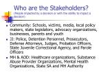 who are the stakeholders people impacted by a decision or with the ability to impact a decision