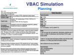 vbac simulation planning