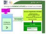 echanges de nomenclatures de sconet vers sts web