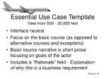 essential use case template view from 500 20 000 feet